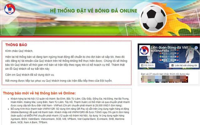 Web bán vé online của VFF ở thời điểm truy cập hiện tại.