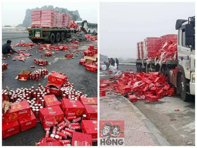 Hiện trường chiếc Container chở nước ngọt bị bung dây chằng, rơi vãi tung tóe (Nguồn: Hóng)