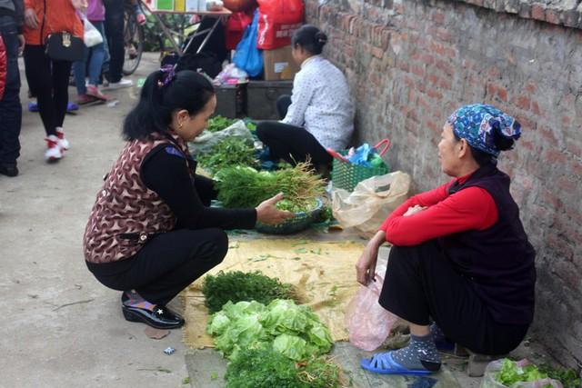 Các mặt hàng bày bán đa dạng, từ rau xanh...