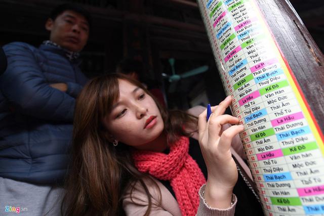 Để tiện cho người đăng ký cúng sao, nhà chùa dán các thông số như tuổi, năm sinh, sao chiếu mệnh… lên các cột gỗ và bàn ghi chép để mọi người dễ đối chiếu.