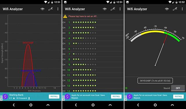 Công cụ quét Wi-Fi giúp xác định kênh phát tín hiệu tốt nhất.