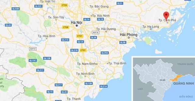 Cảnh sát phát hiện ôtô do Tước điều khiển tại địa bàn Cẩm Phả, Quảng Ninh. Ảnh: Google Maps.