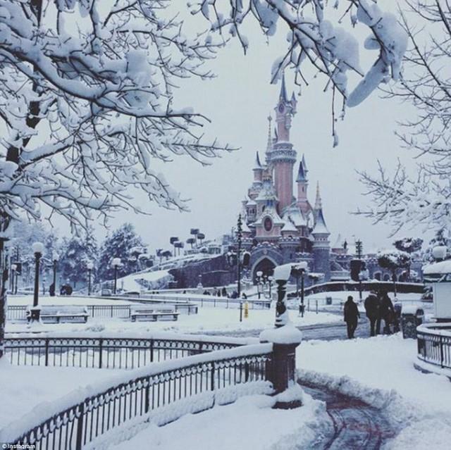 Lâu đài Disneyland Paris đã chuyển sang màu trắng.
