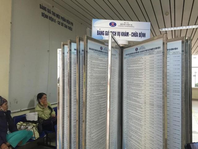 Bệnh viện K công khai bảng giá dịch vụ khám - chữa bệnh ngay tầng 1 bệnh viện. Ảnh: V.Thu