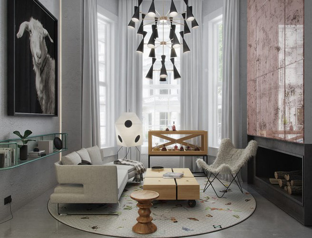 Phòng khách sử dụng hai tông màu đen và trắng giúp ta cảm nhận được các chi tiết kiến trúc một cách rõ ràng và sắc nét.