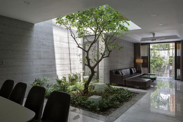 Ngôi nhà được thiết kế hiện đại và sử dụng đá granite ốp tường.