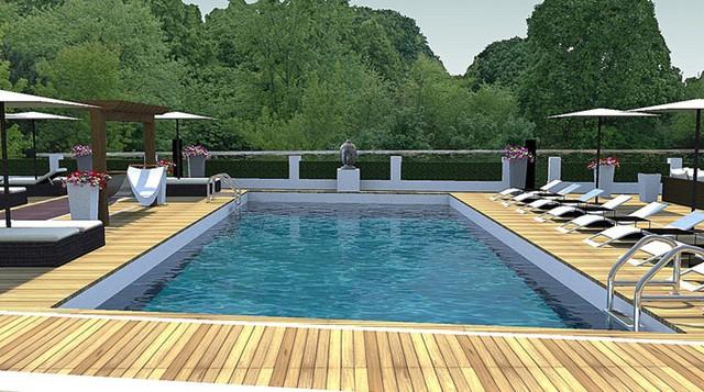 Trên mái cũng có một bể bơi với tầm nhìn ra công viên cây xanh và sông Thames.