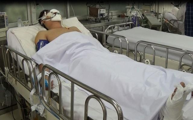Thượng úy Trung đang được điều trị tại BV Chợ Rẫy.