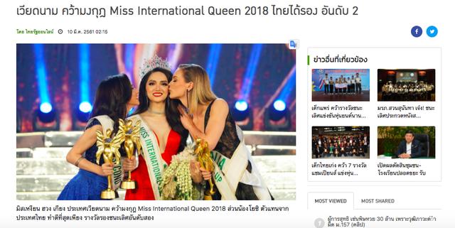 Nhiều trang thông tin cũng đăng tải hình ảnh của Hương Giang như Thairath - tờ báo lớn nhất nhì Thái Lan đăng dòng tít: Việt Nam đăng quang cuộc thi Miss International Queen 2018, Thái Lan xếp thứ 2