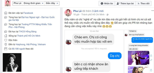 Ca sĩ Pha Lê công khai loạt tin nhắn dụ 'tiếp khách' với giá 2.200 USD