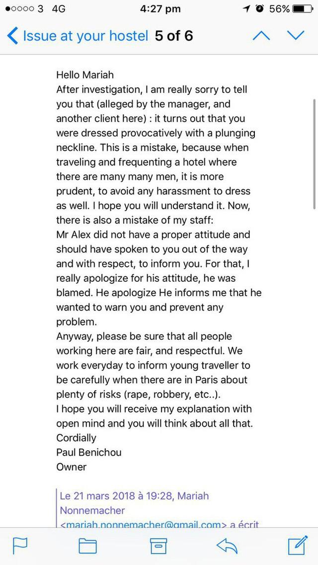 Lời giải thích của chủ khách sạn cho rằng Mariah ăn mặc khiêu gợi nên nhân viên mới nhắc nhở.