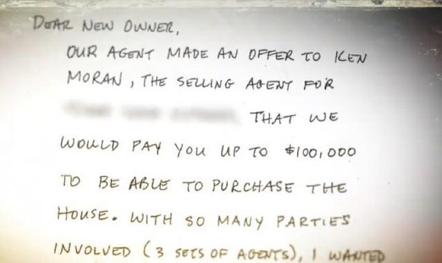 Có người gửi thư đòi mua lại căn nhà với giá 100.000 USD.
