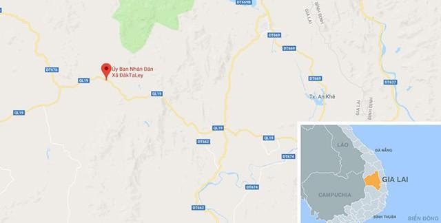 Xã Đăk Ta Ley, huyện Mang Yang, nơi xảy ra vụ việc. Ảnh: Google Maps.