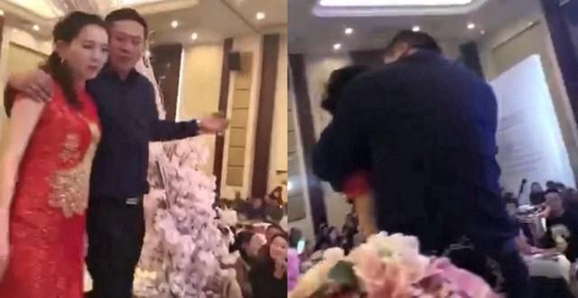 Cô dâu bị bố chồng trêu đùa trong đám cưới.