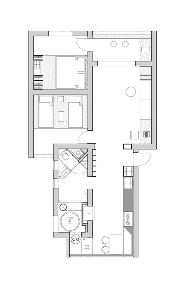 Bản vẽ chi tiết thiết kế đã được cải tạo của căn hộ.