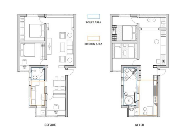 Bản vẽ trước và sau khi sửa của căn hộ.