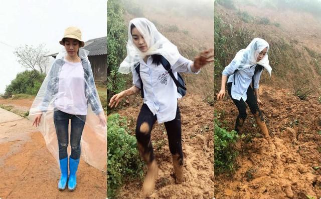 Hoa hậu Đỗ Mỹ Linh đi từ thiện trong đợt mưa lũ cao điểm 2017