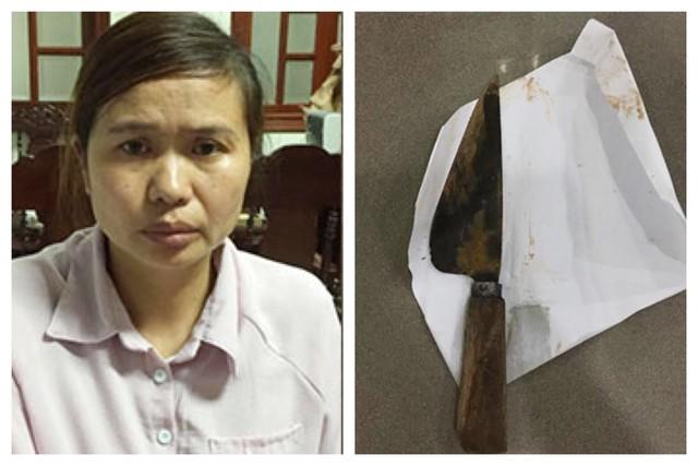 Nguyễn Thị Thắm và con dao sử dụng gây án. (Ảnh:CAND)