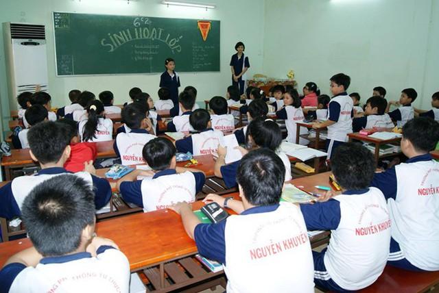 Học sinh trường Nguyễn Khuyến trong giờ học.