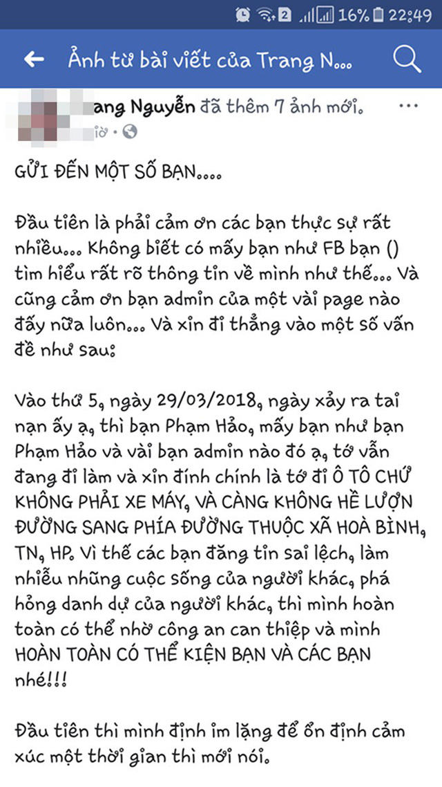 Tài khoản facebook Tr. Nguyễn phủ nhận mình là 1 trong hai nữ sinh.