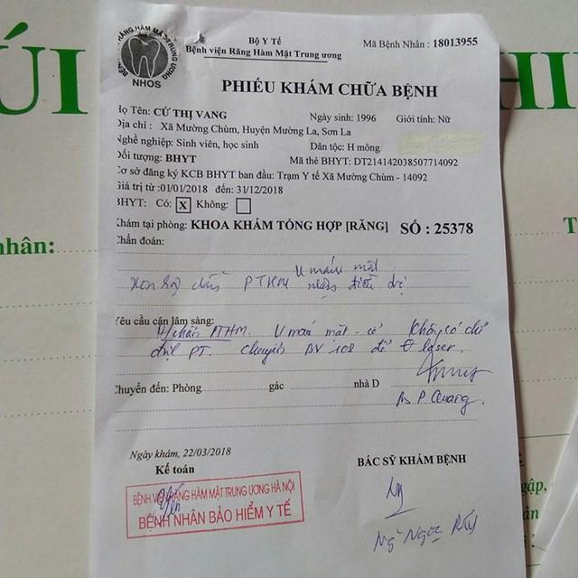 Mới đây, Vang xuống Hà Nội khám và được các bác sĩ thông báo là bị bệnh u máu.