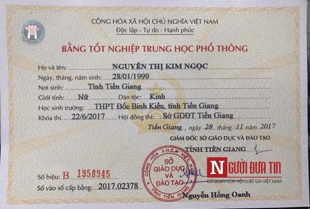 Theo đó, Kim Ngọc đã tốt nghiệp THPT vào năm 2017.