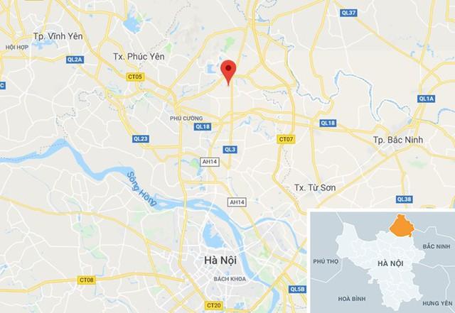 Xã Tiên Dược, nơi xảy ra vụ án cách trung tâm Hà Nội gần 30 km. Ảnh: Google Maps.