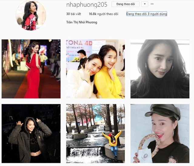 Tuy nhiên, instagram của Nhã Phương hiện tại chỉ có gần 17.000 theo dõi và không hề đăng tải bất cứ thông tin gì liên quan đến ồn ào Trường Giang - Nam Em.