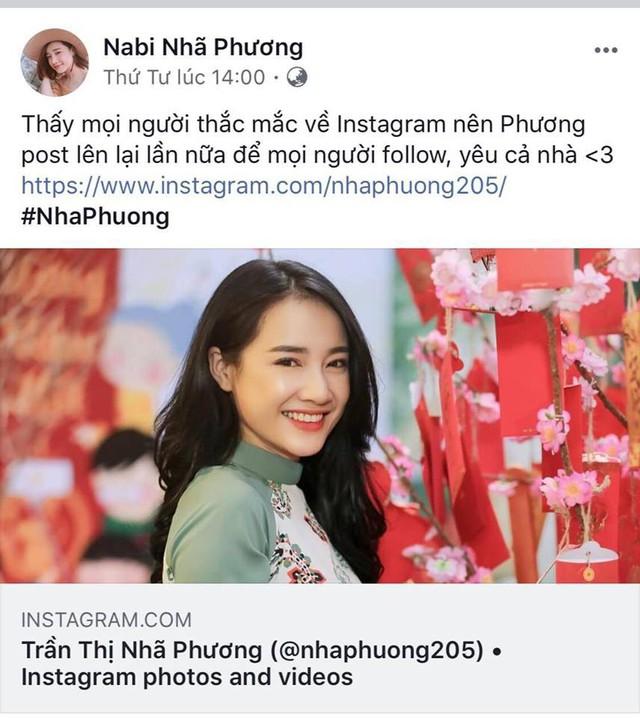 Nhã Phương từng nhiều lần chia sẻ về trang Instagram chính thức của mình, bởi không ít tài khoản giả mạo cô trên mạng có nhiều lượt theo dõi.