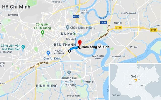 Sở GTVT cấm phương tiện trên đoạn đường khoảng 2 km từ Võ Văn Kiệt, qua hầm Thủ Thiêm sang đường Mai Chí Thọ . Ảnh: Google Map.