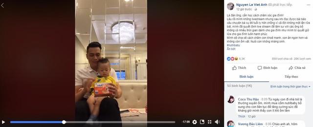 Tối ngày 2/4, diễn viên Việt Anh đã live stream chia sẻ kinh nghiệm của anh trong việc chăm sóc và dạy dỗ con cái trên trang Facebook cá nhân