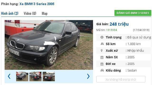 Theo thông tin quảng cáo bán xe, thì một ngân hàng đang phát mại chiếc xe BMW 318i - 2005, màu đen, nhập khẩu này với giá 247.5 triệu đồng.