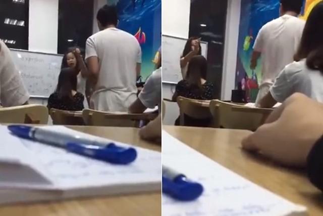Hình ảnh người đứng đầu trung tâm MST cãi nhau tay đôi với học viên. Ảnh cắt từ clip.