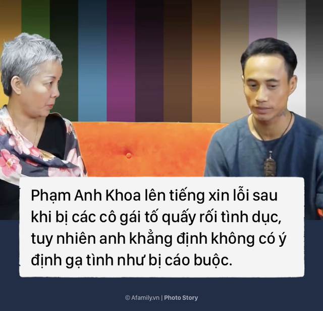 Đỉnh điểm câu chuyện là khi Phạm Anh Khoa xuất hiện trong clip của CSAGA (tổ chức phi chính phủ được thành lập từ năm 2001 với mục đích thúc đẩy việc thực hiện quyền cho phụ nữ và trẻ em trước bạo lực, kỳ thị tại Việt Nam) lên tiếng xin lỗi nhưng lại khẳng định không gạ tình.