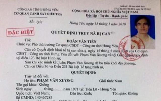Quyết định truy nã toàn quốc đối với Phạm Văn Xương. Ảnh: Cơ quan Công an Cung cấp