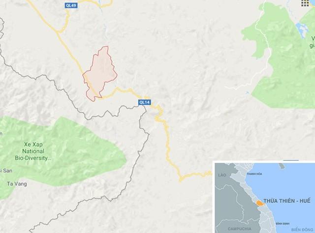 Xã Hương Lâm (màu đỏ) ở Thừa Thiên - Huế. Ảnh: Google Maps.