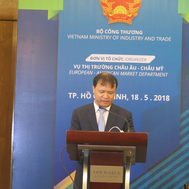 Ông Đỗ Thắng Hải, Thứ trưởng bộ Công Thương phát biểu mở màn Diễn đàn thương mại Việt – Mỹ
