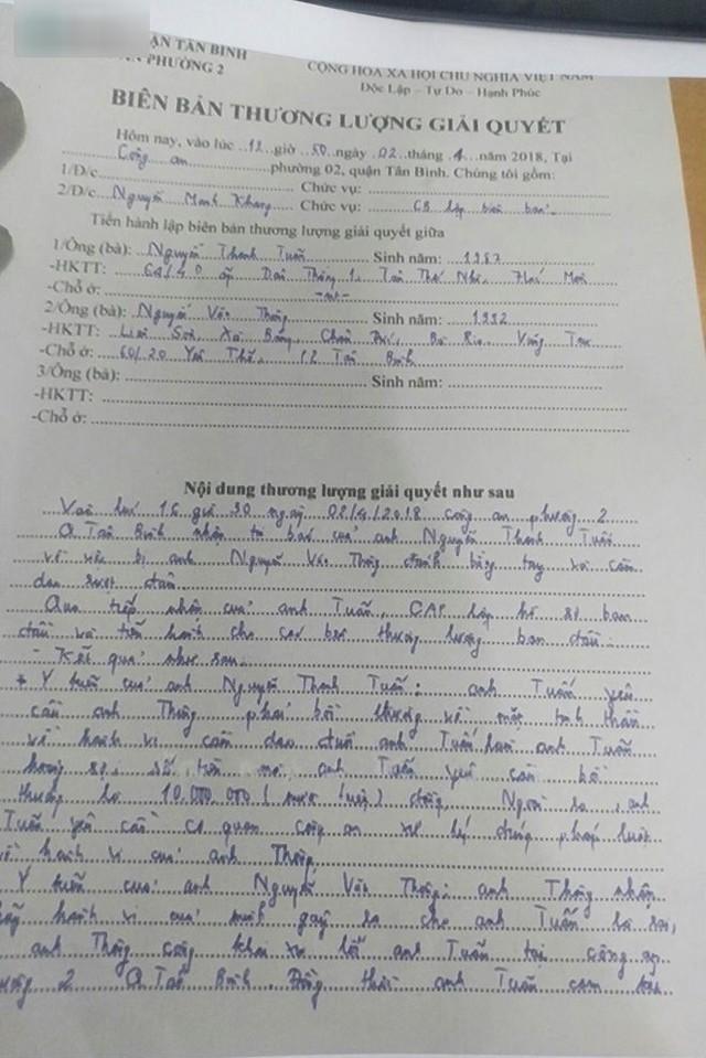 Biên bản xử lý vụ chủ nhiệm đoàn phim hành hung Thanh Tuấn (ảnh do nhân vật cung cấp)