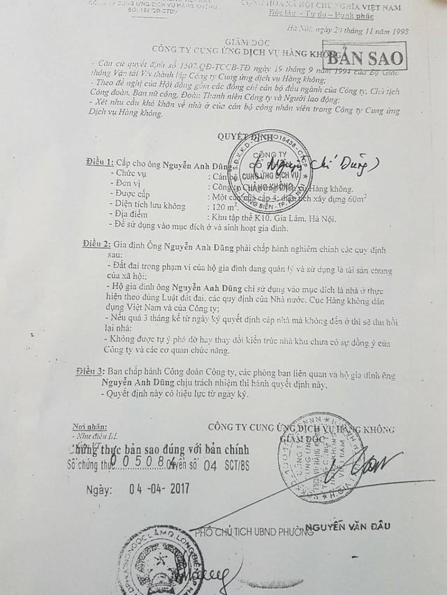 Quyết định cấp nhà cho người dân được Cty Cung ứng dịch vụ hàng không thực hiện. (ảnh: HC)