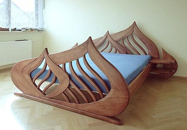 Thêm một thiết kế giường nằm được thiết kế cách điệu theo hình chiếc lá khá lạ mắt và độc đáo.