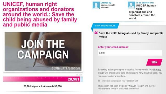 Avaaz trao quyền cho thành viên trong cộng đồng này kêu gọi sự ủng hộ từ mọi người về các vấn đề liên quan đến quyền con người và các vấn đề xã hội khác. Số lượng người ký ủng hộ T.D. đang tăng lên không ngừng. Ảnh chụp màn hình.