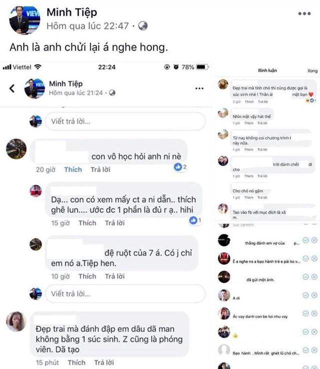 Một số bình luận khiếm nhã và tin nhắn gửi tới MC Minh Tiệp VTC. Ảnh chụp màn hình.