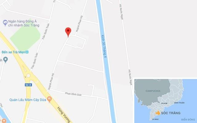 Đường Huỳnh Phan Hộ (chấm đỏ) ở Sóc Trăng. Ảnh: Google Maps.