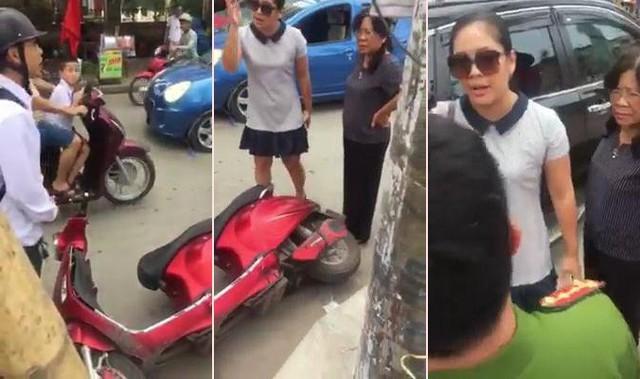 Bà Trang được cho rằng, có nhiều lời nói, hành động thiếu chuẩn mực với công an phường. Ảnh: Cắt từ clip