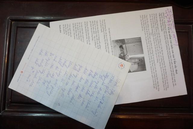 Một trong những bức thư cảm ơn bệnh nhân gửi đến GS.TS. Nguyễn Đức Vy.