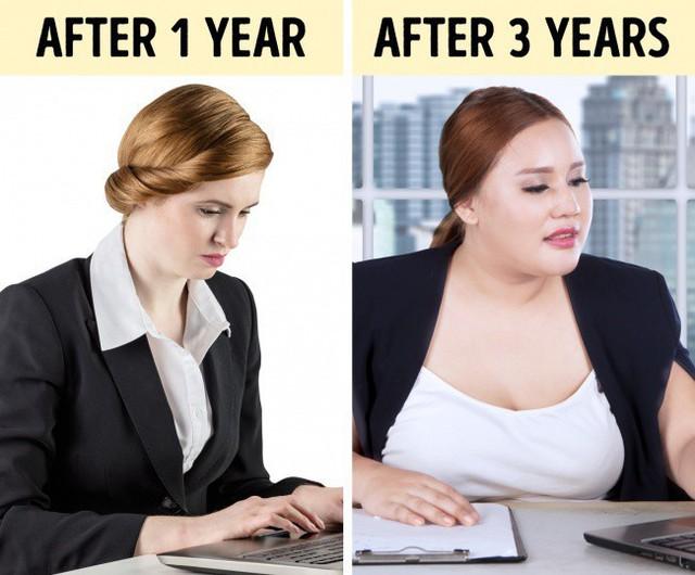 So sánh trọng lượng cơ thể sau 1 năm và 3 năm ngồi nhiều