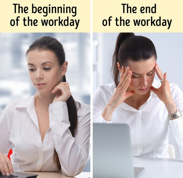 Tinh thần sa sút hẳn khi so sánh giữa đầu ngày và cuối ngày làm việc