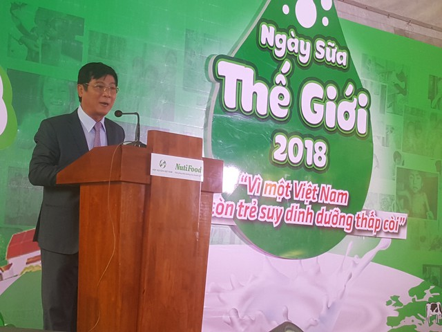 PGS.TS Trần Quang Trung, Chủ tịch Hiệp hội sữa Việt Nam phát biểu khai mạc Ngày Sữa Thế Giới 2018
