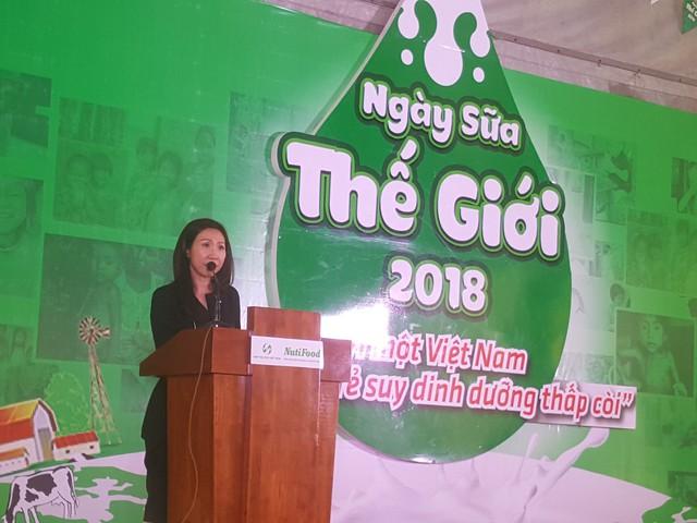 Bà Trần Thị Lệ, Tổng giám đốc Công ty CP thực phẩm dinh dưỡng NutiFood với những chia sẻ tâm huyết tại Ngày Sữa Thế Giới 2018