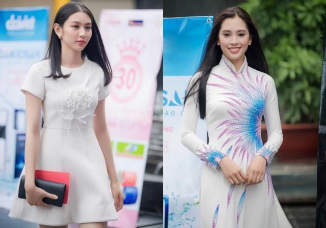 Nhiều cô gái có gương mặt xinh đẹp, nụ cười rạng rỡ. Phong cách của thí sinh cũng đa dạng từ áo dài đến váy ngắn và trang điểm nhẹ nhàng.